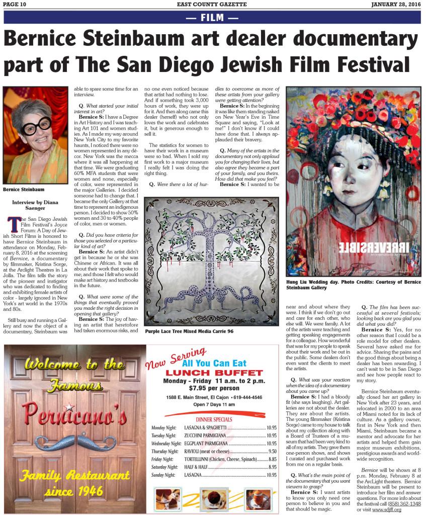 Bernice Steinbaum Interview - East County Gazette